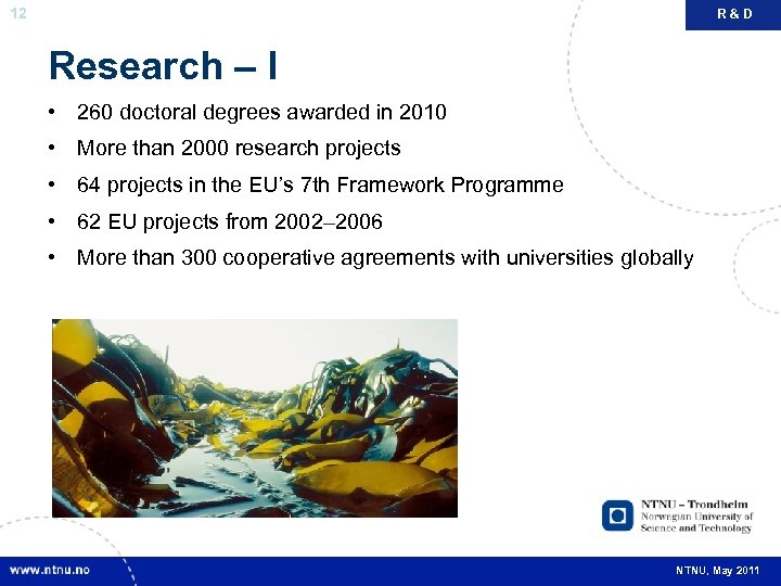 12 R&D Research – I • 260 doctoral degrees awarded in 2010 • More