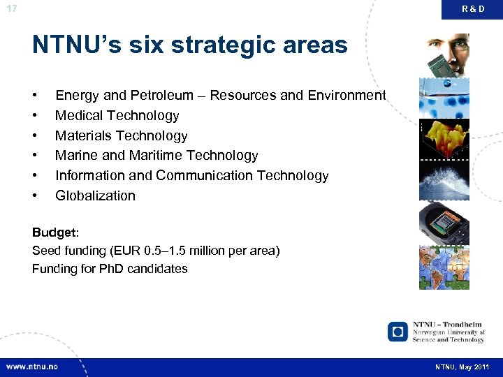 17 R&D NTNU's six strategic areas • • • Energy and Petroleum – Resources