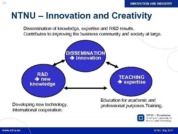 48 INNOVATION AND INDUSTRY NTNU – Innovation and Creativity Dissemination of knowledge, expertise and