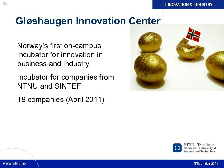 NÆRINGSLIV INDUSTRY INNOVATION & OG NYSKAPING 54 Gløshaugen Innovation Center Norway's first on-campus incubator