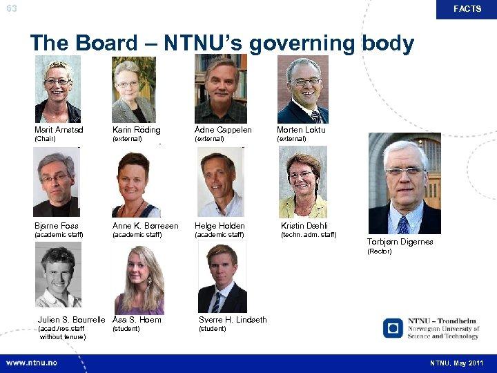FACTS 63 The Board – NTNU's governing body Marit Arnstad Karin Röding Ådne Cappelen