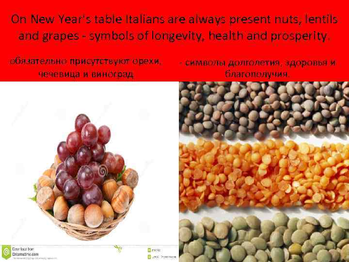 On New Year's table Italians are always present nuts, lentils and grapes - symbols