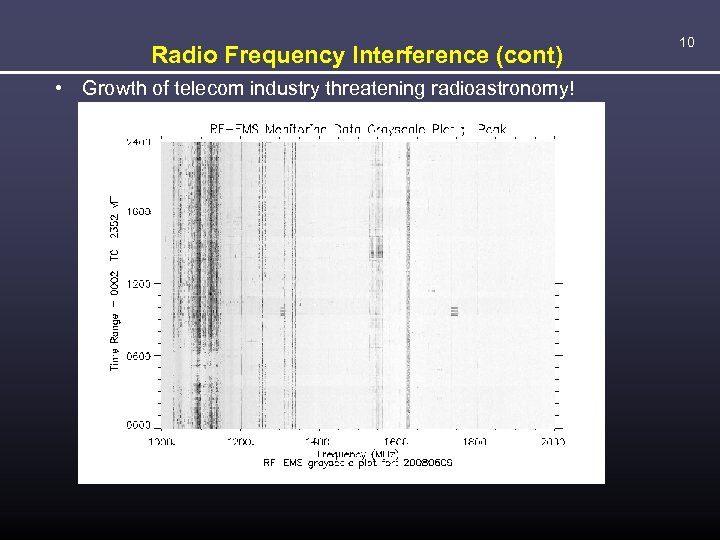 Radio Frequency Interference (cont) • Growth of telecom industry threatening radioastronomy! 10