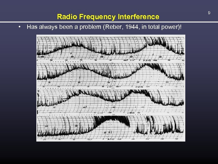 Radio Frequency Interference • Has always been a problem (Reber, 1944, in total power)!