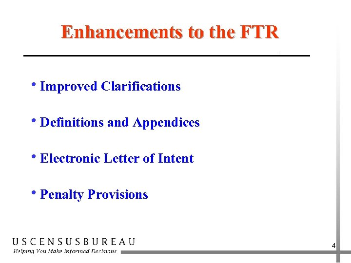 Enhancements to the FTR h. Improved Clarifications h. Definitions and Appendices h. Electronic Letter