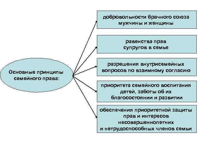 добровольности брачного союза мужчины и женщины равенства прав супругов в семье Основные принципы семейного