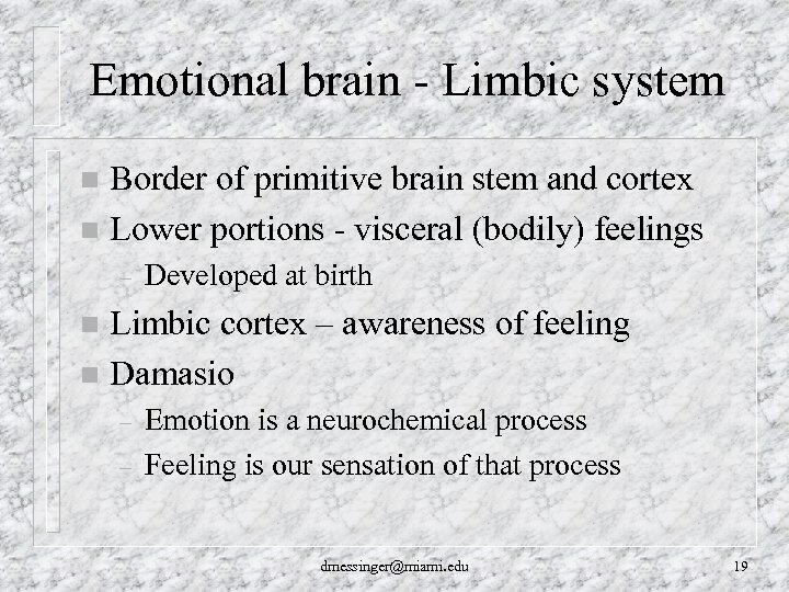 Emotional brain - Limbic system Border of primitive brain stem and cortex n Lower