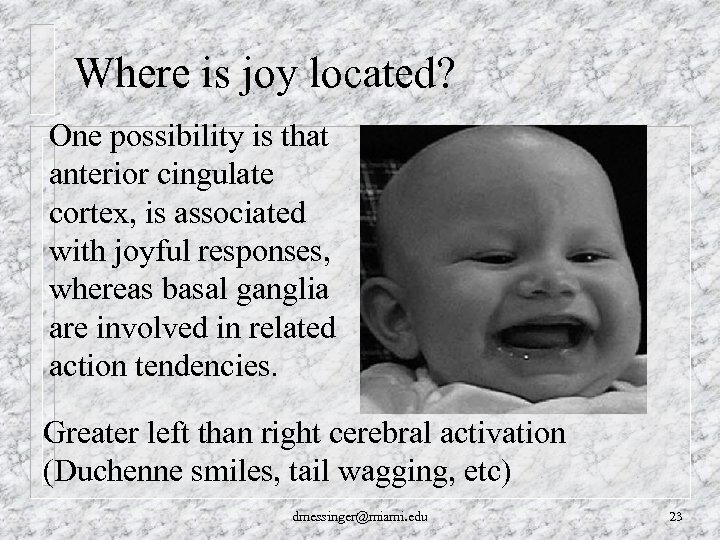 Where is joy located? One possibility is that anterior cingulate cortex, is associated with