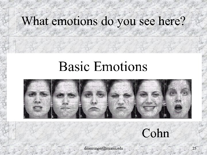 What emotions do you see here? Cohn dmessinger@miami. edu 25