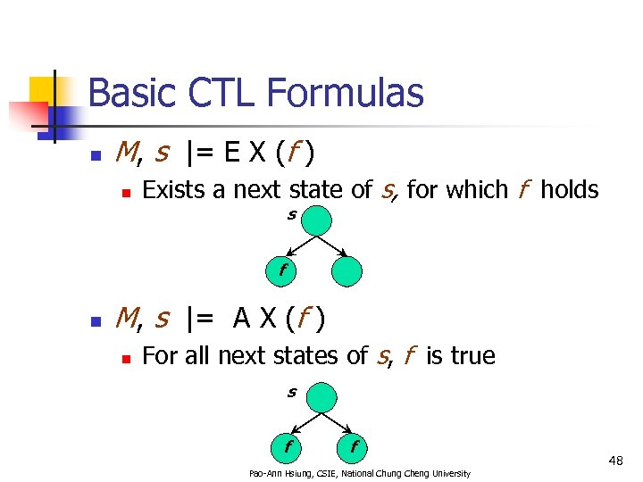 Basic CTL Formulas n M, s  = E X (f ) n Exists a