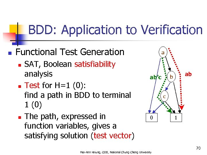 BDD: Application to Verification n Functional Test Generation n SAT, Boolean satisfiability analysis Test