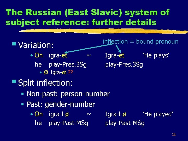 The Russian (East Slavic) system of subject reference: further details § Variation: • On