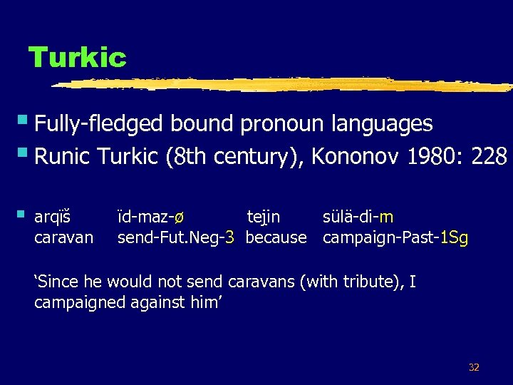 Turkic § Fully-fledged bound pronoun languages § Runic Turkic (8 th century), Kononov 1980: