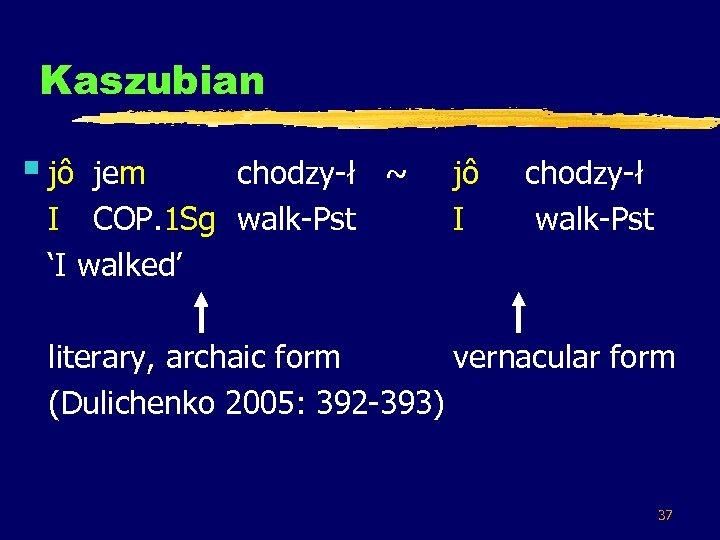 Kaszubian § jô jem chodzy-ł ~ I COP. 1 Sg walk-Pst 'I walked' jô
