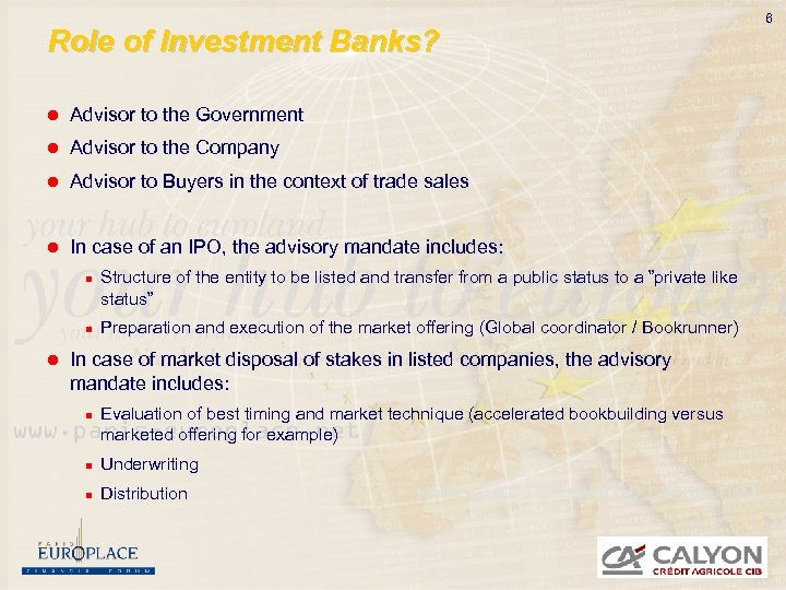 Role of investment bank in ipo