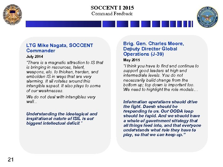 """SOCCENT I 2015 Command Feedback LTG Mike Nagata, SOCCENT Commander July 2014 """"There is"""