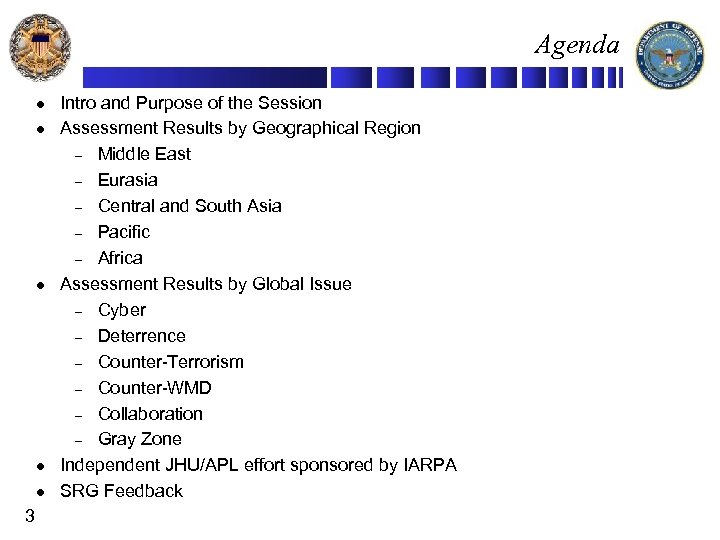 Agenda l l l 3 Intro and Purpose of the Session Assessment Results by