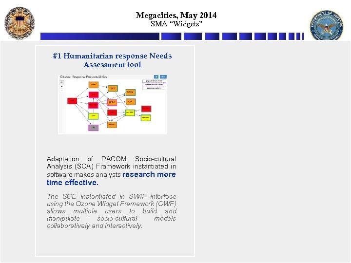 """Megacities, May 2014 SMA """"Widgets"""" #1 Humanitarian response Needs Assessment tool Adaptation of PACOM"""