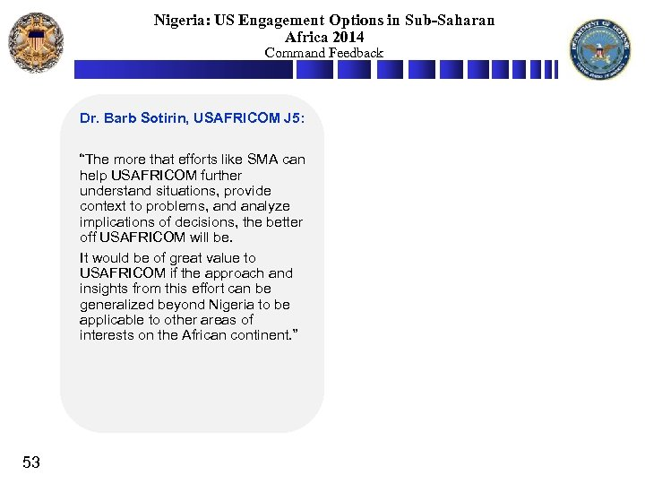 Nigeria: US Engagement Options in Sub-Saharan Africa 2014 Command Feedback Dr. Barb Sotirin, USAFRICOM