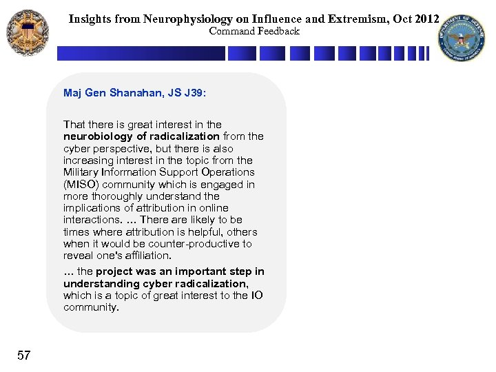 Insights from Neurophysiology on Influence and Extremism, Oct 2012 Command Feedback Maj Gen Shanahan,