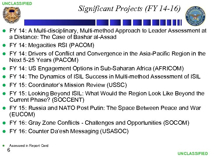 UNCLASSIFIED Significant Projects (FY 14 -16) l FY 14: A Multi-disciplinary, Multi-method Approach to