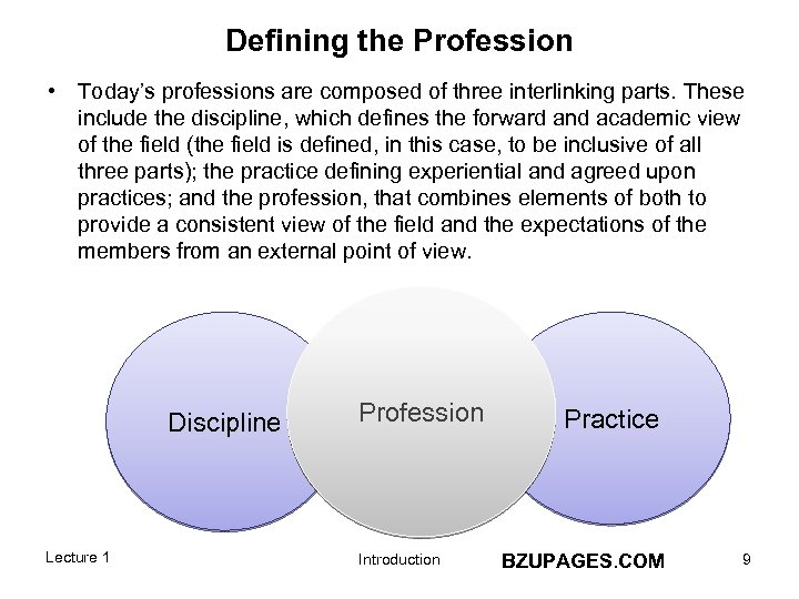 Defining the Profession • Today's professions are composed of three interlinking parts. These include