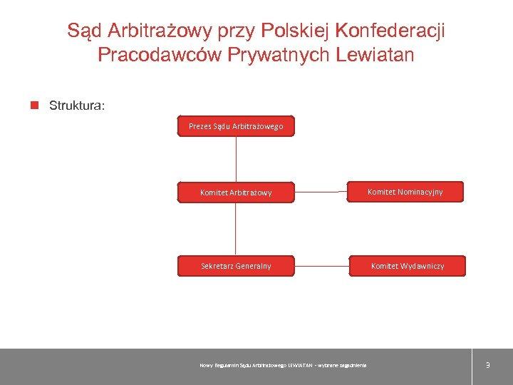 Sąd Arbitrażowy przy Polskiej Konfederacji Pracodawców Prywatnych Lewiatan Struktura: Prezes Sądu Arbitrażowego Komitet Arbitrażowy