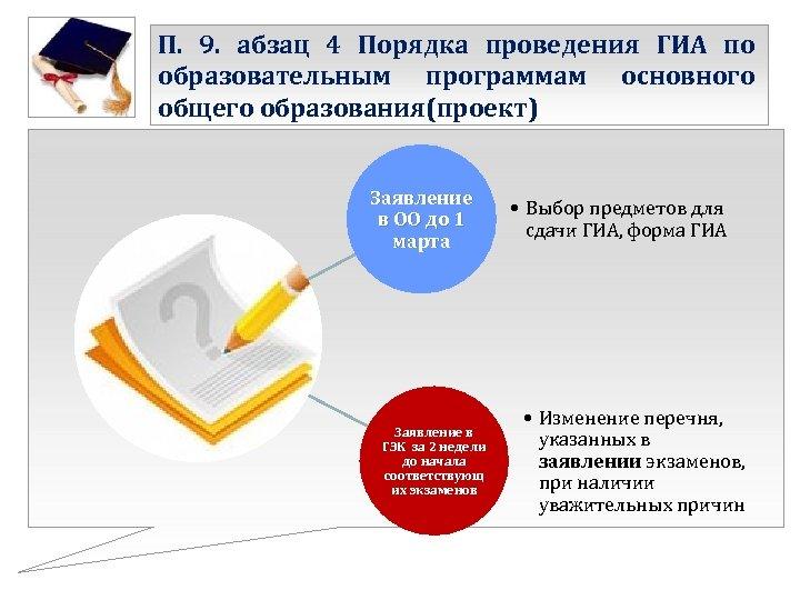 П. 9. абзац 4 Порядка проведения ГИА по образовательным программам основного общего образования(проект) Заявление