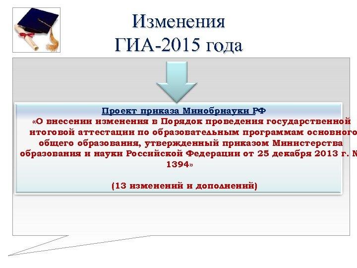 Изменения ГИА-2015 года Проект приказа Минобрнауки РФ «О внесении изменения в Порядок проведения государственной