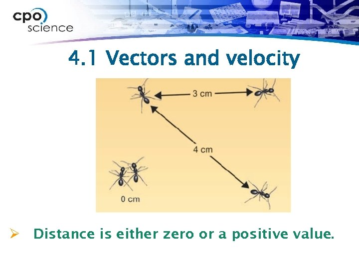 4. 1 Vectors and velocity Ø Distance is either zero or a positive value.