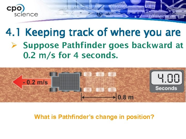 4. 1 Keeping track of where you are Ø Suppose Pathfinder goes backward at
