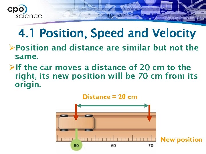 4. 1 Position, Speed and Velocity ØPosition and distance are similar but not the