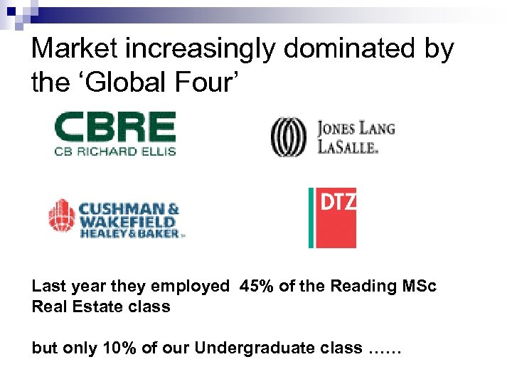 Market increasingly dominated by the 'Global Four' Last year they employed 45% of the