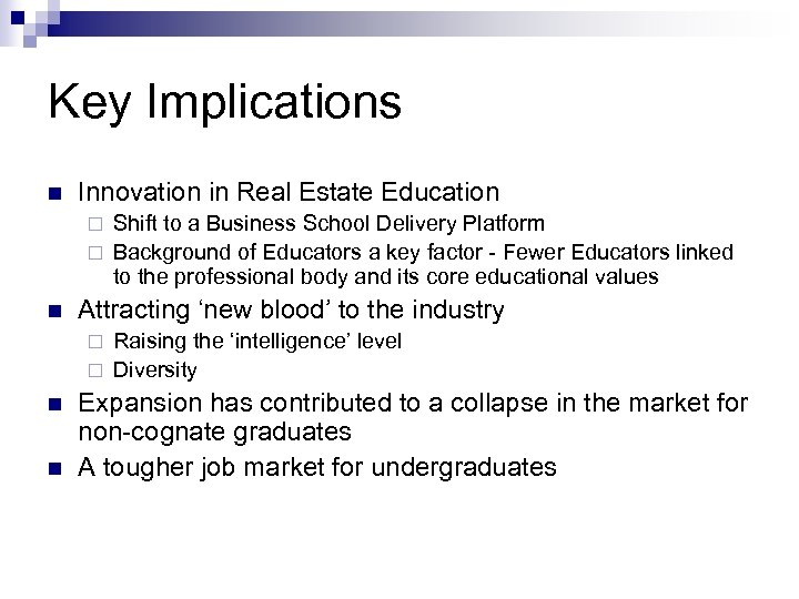 Key Implications n Innovation in Real Estate Education Shift to a Business School Delivery