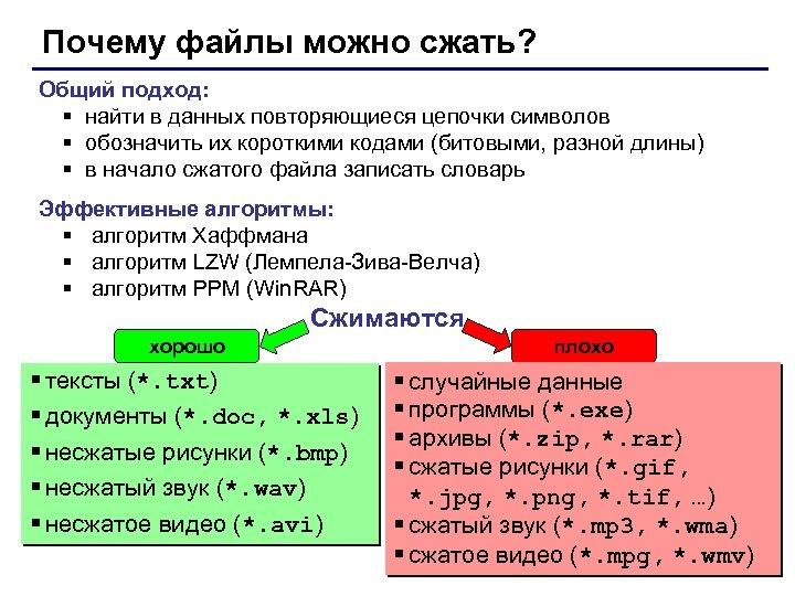 Почему файлы можно сжать? Общий подход: § найти в данных повторяющиеся цепочки символов §