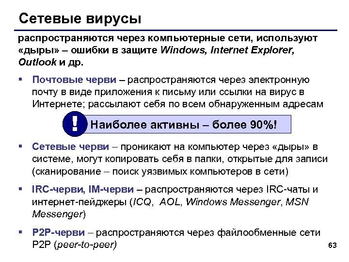 Сетевые вирусы распространяются через компьютерные сети, используют «дыры» – ошибки в защите Windows, Internet