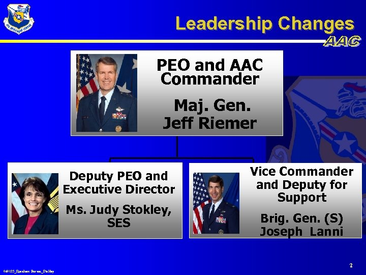 Leadership Changes PEO and AAC Commander Maj. Gen. Jeff Riemer Deputy PEO and Executive