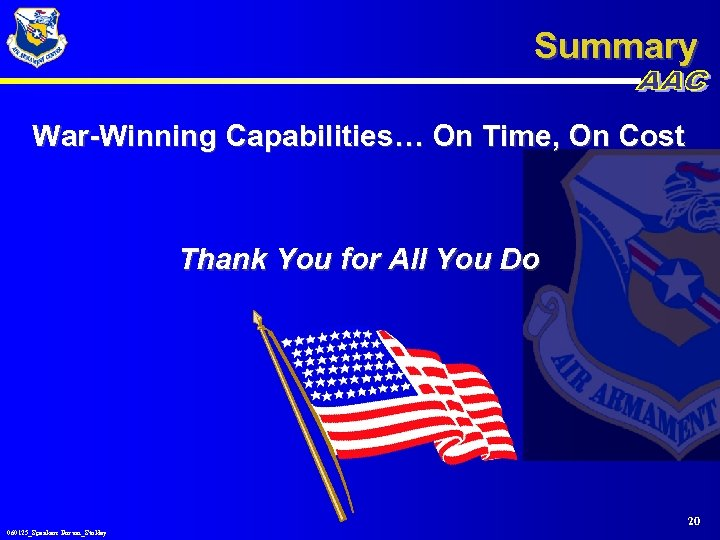 Summary War-Winning Capabilities… On Time, On Cost Thank You for All You Do 20