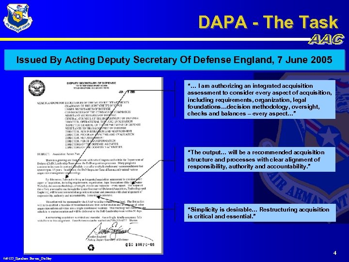 DAPA - The Task Issued By Acting Deputy Secretary Of Defense England, 7 June