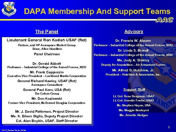 DAPA Membership And Support Teams The Panel Advisors Lieutenant General Ron Kadish USAF (Ret)