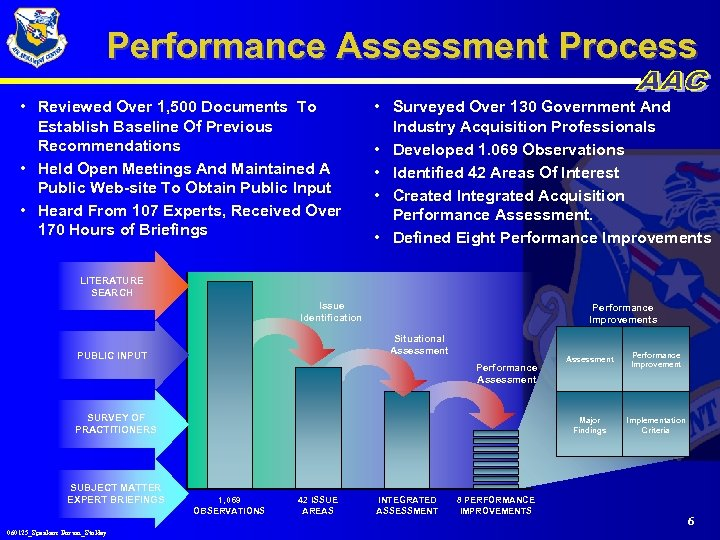 Performance Assessment Process • Reviewed Over 1, 500 Documents To Establish Baseline Of Previous