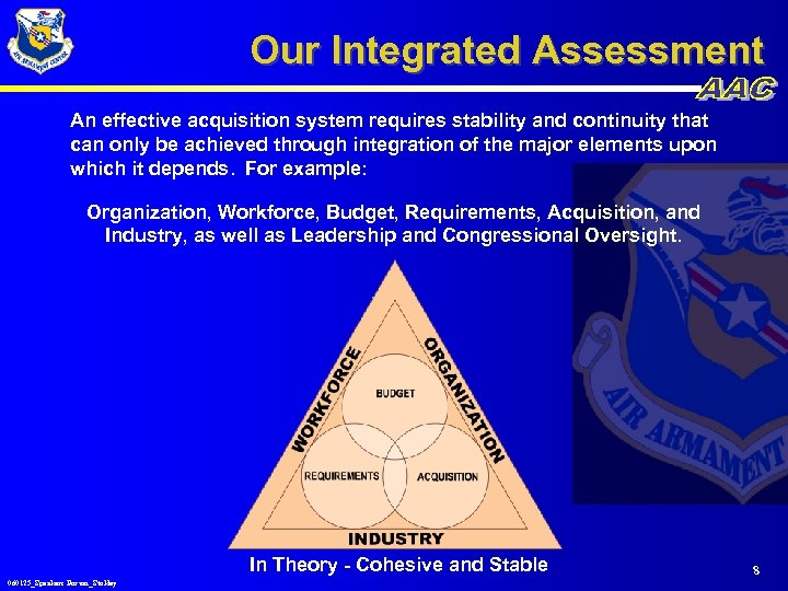 Our Integrated Assessment An effective acquisition system requires stability and continuity that can only