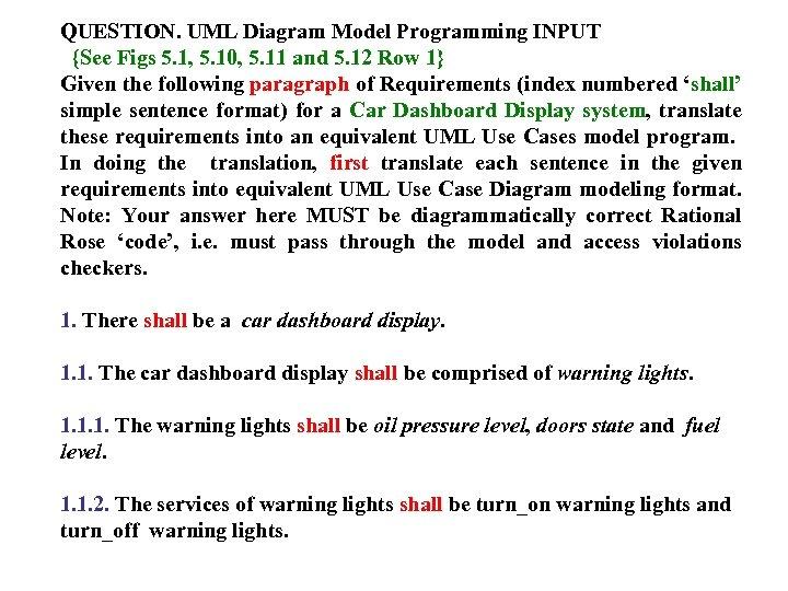 QUESTION. UML Diagram Model Programming INPUT {See Figs 5. 1, 5. 10, 5. 11