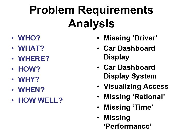 Problem Requirements Analysis • • WHO? WHAT? WHERE? HOW? WHY? WHEN? HOW WELL? •