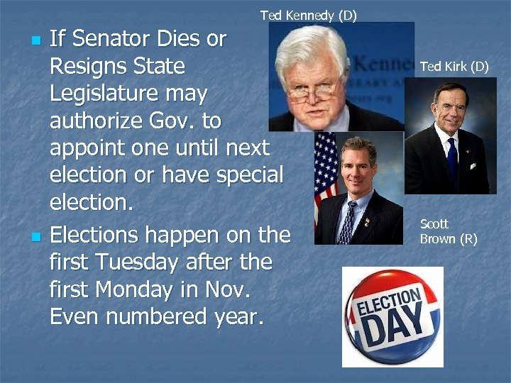 Ted Kennedy (D) n n If Senator Dies or Resigns State Legislature may authorize