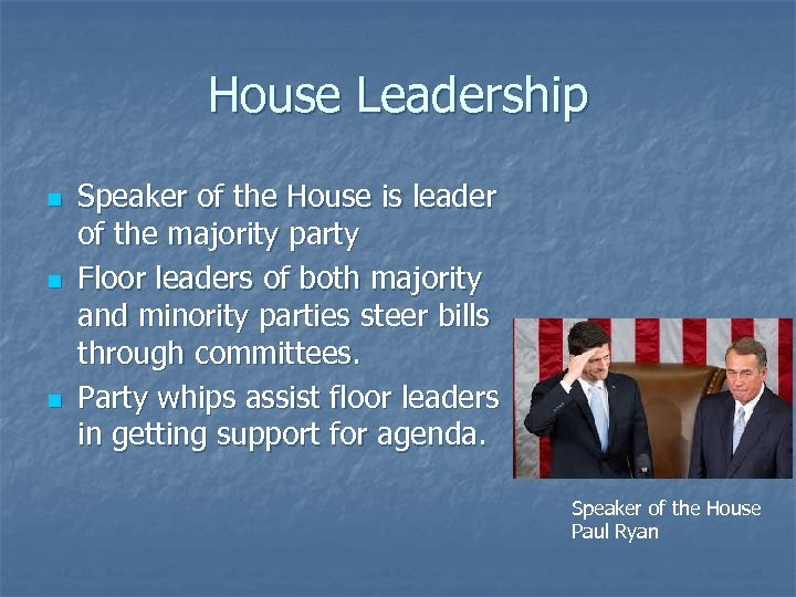 House Leadership n n n Speaker of the House is leader of the majority