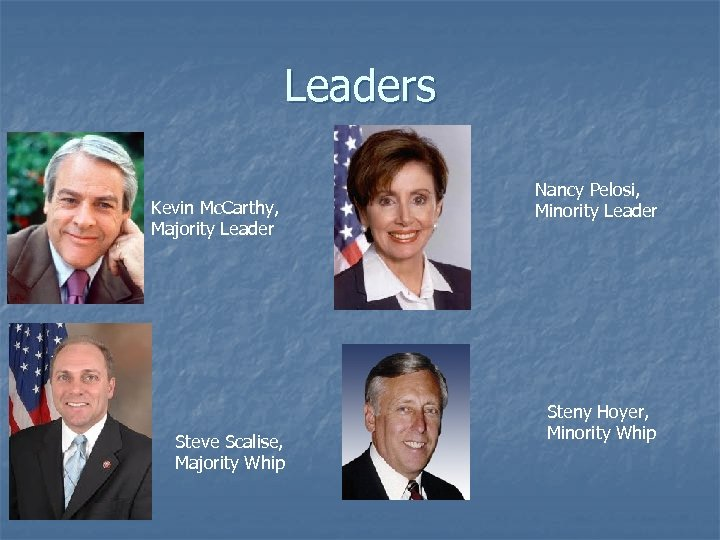 Leaders Kevin Mc. Carthy, Majority Leader Steve Scalise, Majority Whip Nancy Pelosi, Minority Leader