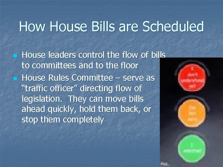 How House Bills are Scheduled n n House leaders control the flow of bills