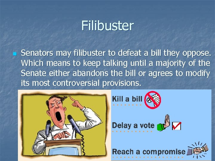 Filibuster n Senators may filibuster to defeat a bill they oppose. Which means to