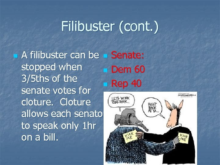 Filibuster (cont. ) n A filibuster can be n Senate: stopped when n Dem
